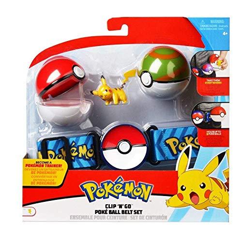 Lively Moments Pokemon Gürtel für Kinder mit Pokebällen & Figur Pikachu / Kindergürtel für Pokebälle / Spielzeug (Pokemon Mit Pokeball)