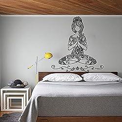 Etiquetas de la pared de la yoga actitud de Lotus de vinilo etiqueta de Bohemia Decal Works Gym Home Decor Diseño interior del dormitorio de la meditación Arte Murales MN509