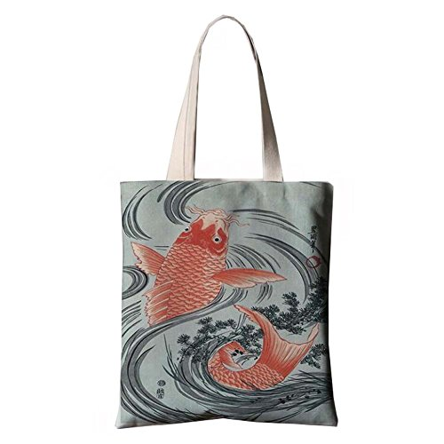 fd71a1246 Koi Fish Pattern Art Style Shopping Tote Bag Bolsa de tela # 06