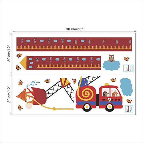 Wandaufkleber Tiere Feuer Rettungswagen Höhe Maßnahme Wandaufkleber Für Kindergarten Kinderzimmer Wachstum Chart Hause Tür Decor PVC Wandbild Wandkunst Aufkleber - Tür Wachstum Chart
