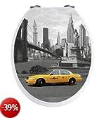 WENKO 20074100 Seduta WC New York con effetto 3D - chiusura ammortizzata, armatura inossidable, Etilene vinil acetato, 38 x 45 cm, Multicolore