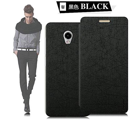 Tarkan Pudini Rain PU Leather Slim Flip Cover Case with Convertible Back Stand for Lenovo Vibe P1 - BLACK