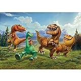 Vlies Fototapete PREMIUM PLUS Wand Foto Tapete Wand Bild Vliestapete - Dinosaurier Cartoon Arlo und Spot Kindertapete - no. 2794, Größe:312x219cm Vlies