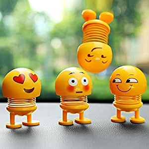 Emartos (Pack of 4 toys ) Smiley Spring Doll,Cute Emoji for Car Dashboard Bounce Toys,Emoticon Figure Funny Smiley Face Springs Car Decoration for Car Interior Dashboard Expression Bobble-Head (Assorted) (pack of 4)