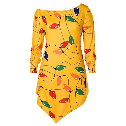 Damen Halloween Weihnachten Kostüm,Geili Frauen Halloween Weihnachten Langarm Geist Print Sweatshirt Pullover Tops Damen Lose Casual Asymmetrische Bluse T Shirt ()