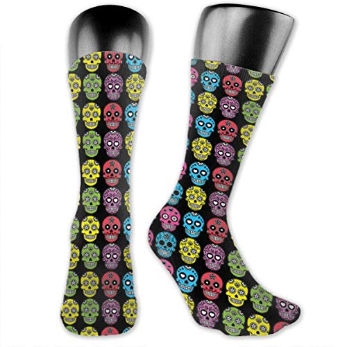 HiExotic Strümpfe Breathable Halloween Mexican Sugar Skull High Ankle Stockings Breathable Exotic Psychedelic Print Compression Elastic Socks Men Women (Skull Halloween Sugar)
