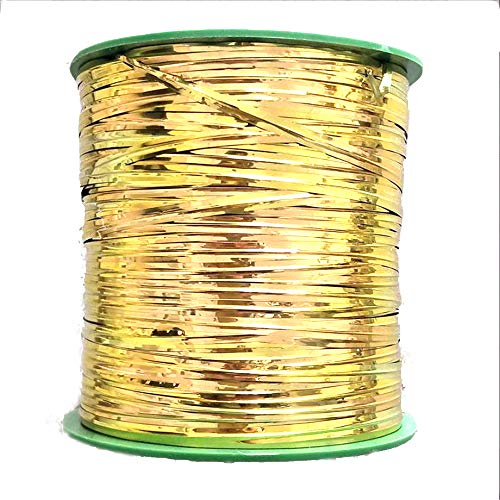 Lezed 320m Metallisch Kabelbinder Twist Ties Twistband Bindestreifen Kunsstoffbindestreifen mit Innenliegender Drahteinlage Spiral Kabelbinder Band Kabel Drähte Bindedraht Kuchen Tasche Partei (Gold)