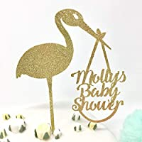 Personalised delivery stork baby shower cake topper. Name's baby shower cake decor. Baby boy shower cake topper, baby girl shower idea.