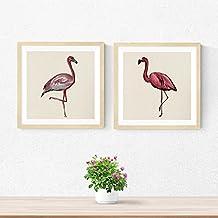 PACK de láminas para enmarcar DOS FLAMENCOS. Posters cuadrados con imágenes de flamencos. Decoración de hogar. Láminas para enmarcar. Papel 250 gramos alta calidad