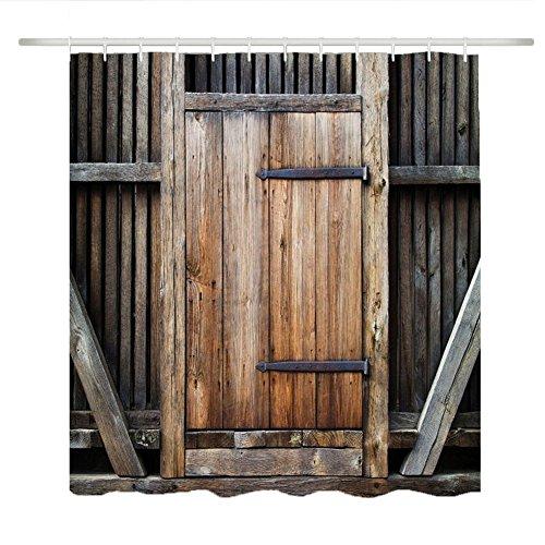 Set doccia tende da bagno, retrò stampato in retro modello vintage in legno, resistente alla muffa impermeabile, con ganci. (mucha gate 180*200)