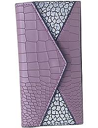 Women PU Leather Long Wallet Clutch Handbag Zipper Organizer Card Cellphone Holder Purse (Purple