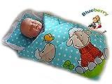 Neugeborenes Baby Wickel Decke, Bettdecke, Schlafsack Baby 's Horn (blau creme)