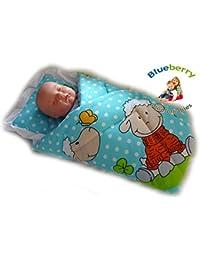 NEWBORN Baby Swaddle Wrap Blanket, duvet, Sleeping Bag BABY'S HORN (BLUE CREAM)