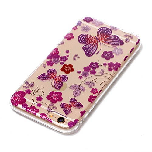 iphone 6S Glitter Custodia, iphone 6 Silicone Cover, Trasparente Caso for iphone 6S 4.7, Ekakashop Moda Fantasia Creative 3d Gel Soft TPU Silicone Gomma Cover, Colorato Painting High penetration IMD  Fiore e farfalla