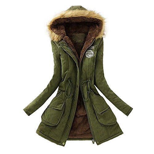 JURTEE Damen Winterjacke,Wintermantel Lange Daunenjacke Jacke Outwear Winter Warm Trenchcoat mit Abnehmbarer Pelzkragen Parka Outwear Mäntel(Medium,Armee - Lady Gaga Kostüm Kinder