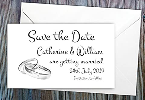 Personalised Save the Date Magnets - Pack of 50 Vintage Rings Wedding Magnets - Personalized Draft - Complete with Envelopes