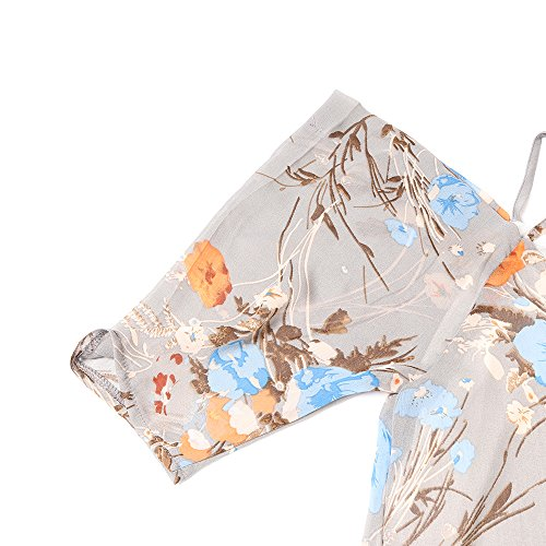 NEWISTAR Damen Chiffon Floral Kleid Tops Sexy Cut Out kalte Schulter A-Linie Spaghetti Straps Tunic Top Braun