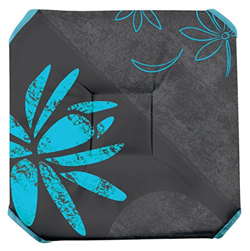 Galette de chaise anti-taches à rabats Lotus bleu