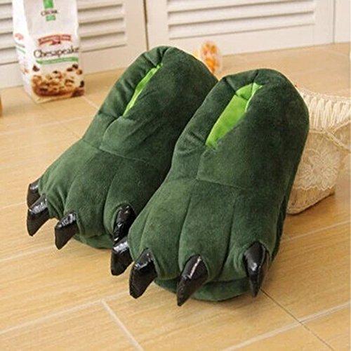 Femmes Hommes Unisexe Confortables Chaussures chaudes dhiver Animaux Souple en Peluche Slipper Pantoufle Chaussons Vert