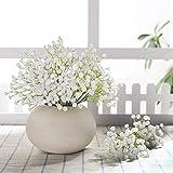 JUSTOYOU 10 ramilletes artificiales de gypsophilas, ideales como ramos de novia o para arreglos florales en el hogar, color blanco, material: poliuretano - sílice.