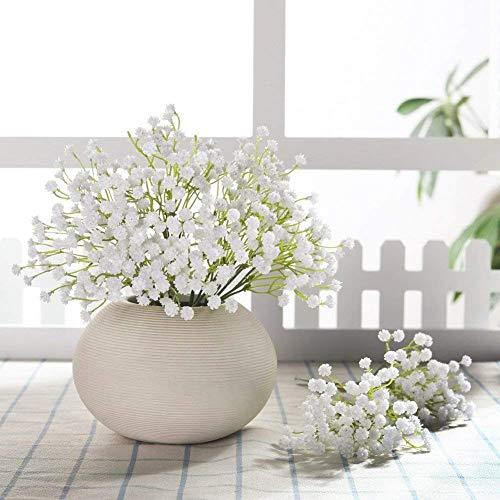 JUSTOYOU Gladiolen Künstliche Blumen Fake realistisch PU Babys Atem für Hochzeit Home Dekoration Bridal Bouquet Floral Arrangement 100 weiß