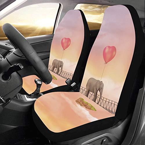 Cubierta del asiento trasero del coche Un lindo bebé elefante flotante Universal Fit Auto Fundas para asientos de automóviles Protector para auto Camión Suv Vehículo Mujeres Señora (2 delanteras) 2