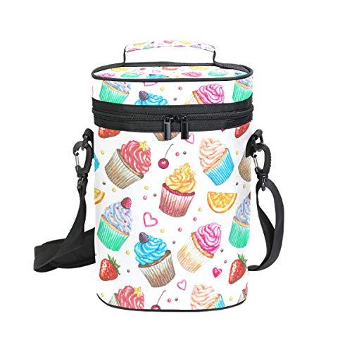 Ahomy Wine Tote Wasserfarben Cupcake Erdbeere 2 Flaschen Isolierte Weinbox Kühler - Personalisierte Wein-kühler