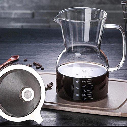 Pour Over Kaffeezubereiter Kaffeebereiter Manuell Kaffeebereiter Kaffeekanne Hand Kaffee Edelstahl Handfilter Glaskörper Mit Dauerfilter Aus Edelstahl Dripper Zum Aufbrühen Des Kaffees 800ml Für 2-4 T