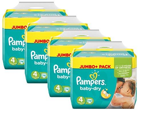 Preisvergleich Produktbild Pampers Baby Dry Größe 4 Maxi 7-18kg Jumbo Plus Pack (4 x 78 Windeln )