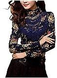 BININBOX Elegant Damenbluse Langarm Stehkragen mit Futter Spitzenbluse Slim Fit Tops OL Lace Bestickte (40/Hersteller Gr.XXXL, Blau)