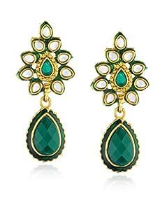 Ava Drop Earrings for Women (Green) (E-VS-035)