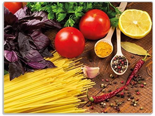 Wallario Stilvolle Glasunterlage/Schneidebrett aus Glas, Italienisches Menü mit Spaghetti, Tomaten, Basilikum und Gewürzen, Größe 30 x 40 cm, Kratzfest, aus Sicherheitsglas