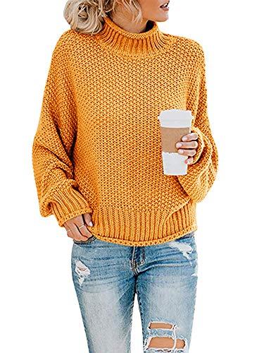 Yidarton Pullover Damen Elegant Winter Rollkragenpullover Strickpullover Grobstrickpullover Casual Lose Pulli Langarm Oberteile (3261-Gelb, Medium)