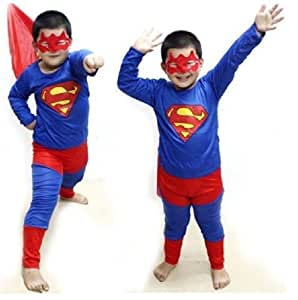 Superman costume fancy dress up outfit suit mask children (5-6 Years)