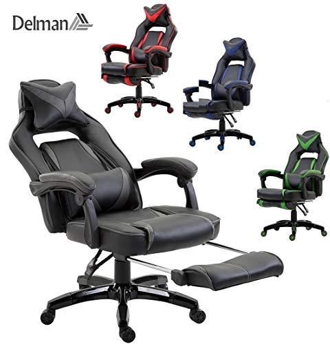 Delman XXL Size Gaming Stuhl Computerstuhl Chefsessel Kunstleder Bürostuhl Höhenverstellbarer Schreibtischstuhl Ergonomisches Design mit Fußstütze und Wippfunktion Dicke Polsterung von 11 cm RS0019GY