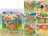 LDD-9 Stück von sechsseitigen Malerei Puzzle, 3D-Stereo-Bausteine von intellektuellen Spielzeug 3-6 Jahre alt , 13