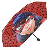 Miraculous, les aventures de Ladybug et Chat Noir - Parapluie mini pour fillette Perletti – Parapluie pliant fille impression Marinette de Miraculous Lady Bug - Diamètre 89 cm - Ouverture manuel