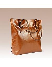 e1d0c1aaf1b59 Zweifarbige Wachs Leder Handtaschen Große Tasche Damen Schultertasche Trend  Pack
