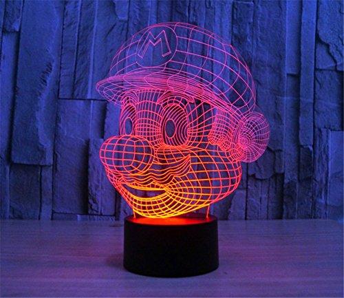 SmartEra® 3D Optical Illusion Super Mario Pannello di modello di illuminazione notturna pulsante tattile USB scrittorio LED lampada da tavolo luce
