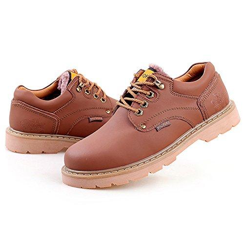 Rismart Hommes Cuir Véritable Chaussures à Lacets Industrie Chaussures de Travail 8566 marron-fourrure
