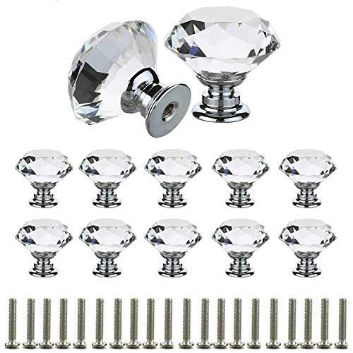 10 Stück Schubladenknöpfe Kommode Möbelknöpfe Kristall 30mm Zinklegierung Kristallglas Moebelknauf Griff Garderobe Ziehgriffe Möbelgriff (Transparent) - Transparent Glass Knob