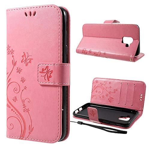 Wallet Case Butterfly Flower Motiv Handy Tasche Klapp Etui Schutz Hülle Bag Rosa für Samsung Galaxy J6 (2018) - Brief-fach Deckel