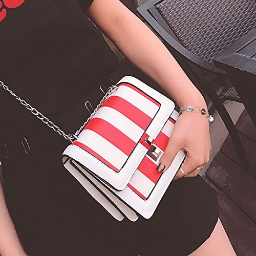 Weibliche kuriertasche Mini Schulter umhängetasche Stickerei Kette handtaschen Weiß