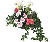 Closer2Nature Composition Florale Artificielle avec géraniums et azalées Roses et Blanches dans Un Panier en Osier à Suspendre S Rose/Blanc