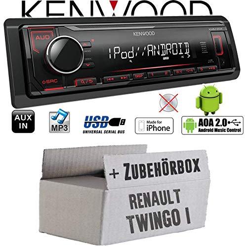 Renault Twingo 1 - Autoradio Radio Kenwood KMM-204 - MP3 | USB | iPhone - Android - Einbauzubehör - Einbauset
