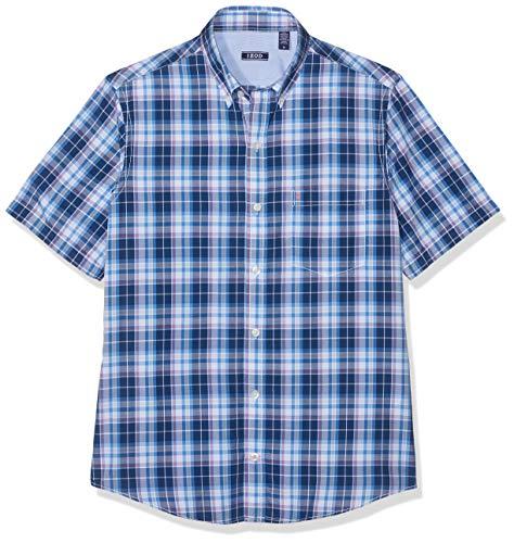 Izod Herren Hemden (Izod Herren Breeze POPLIN Plaid SS Shirt Freizeithemd, Blau (Estate Blue 403), Herstellergröße: XX-Large)