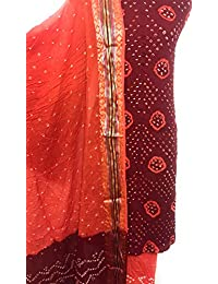 Grassroot Galery's Traditional Bandhej Unstiched Dress Material For Women In Maroon And Gerua-Orange On Pure Cotton-Satin...