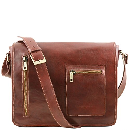 Tuscany Leather TL Messenger Borsa a tracolla porta notebook in pelle 2 scomparti - TL141650 (Nero) Marrone
