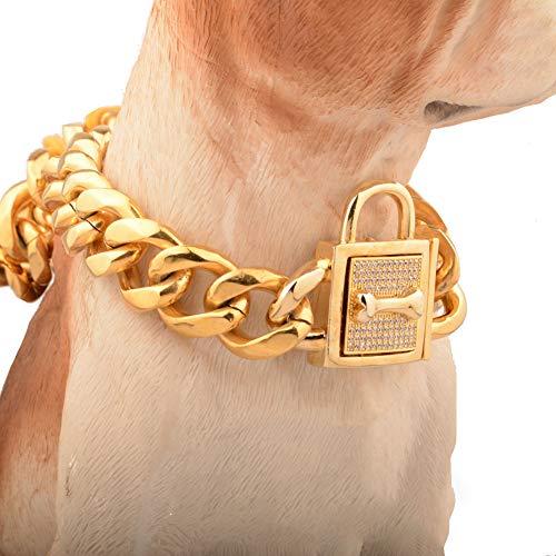 WELBLQ 19mm Hundehalsband Titanstahl Edelstahlkette Sechsseitige, mikroeingelegte Hundekette mit weißer Diamantschnalle-gold-16inches