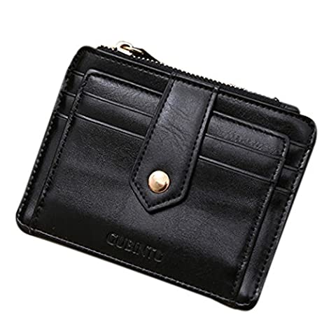 Angelof Mini En Cuir à Capuche Credit Card Id Titulaire Argent Clip Wallet (Noir)